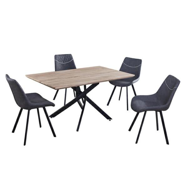 Маса в индустриален стил с черна метална основа и сив стол