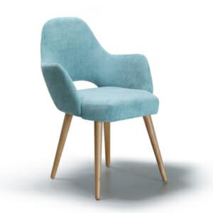 Модерен стол с мека дамаска и дървени крака - тюркоаз