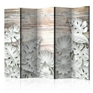 Двустранен интериорен параван с бели декоративни листа - 5 крила
