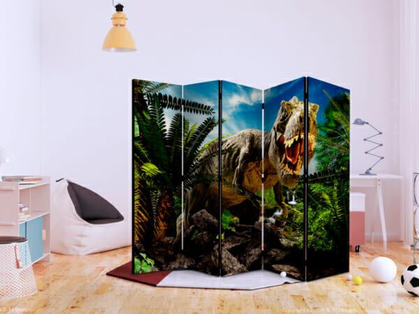 Декоративен параван с тиранозавър в джунглата-двустранен