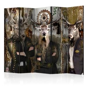 Сгъваем параван с еленски глави върху мъжки тела в костюми - 5 крила