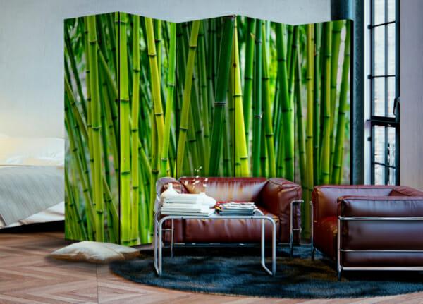 Сгъваем декоративен параван за стая с бамбук - 5-крилен