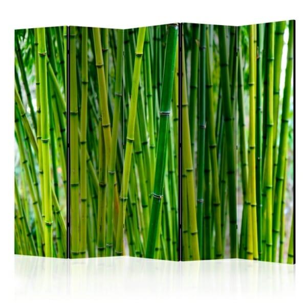 Сгъваем декоративен параван за стая с бамбук - 5 крила