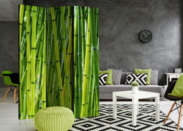Сгъваем декоративен параван за стая с бамбук - 3-крилен