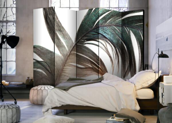 Интериорен двулицев параван с ефектно цветно перо