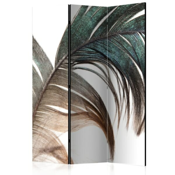 Интериорен двулицев параван с ефектно цветно перо - 3 крила