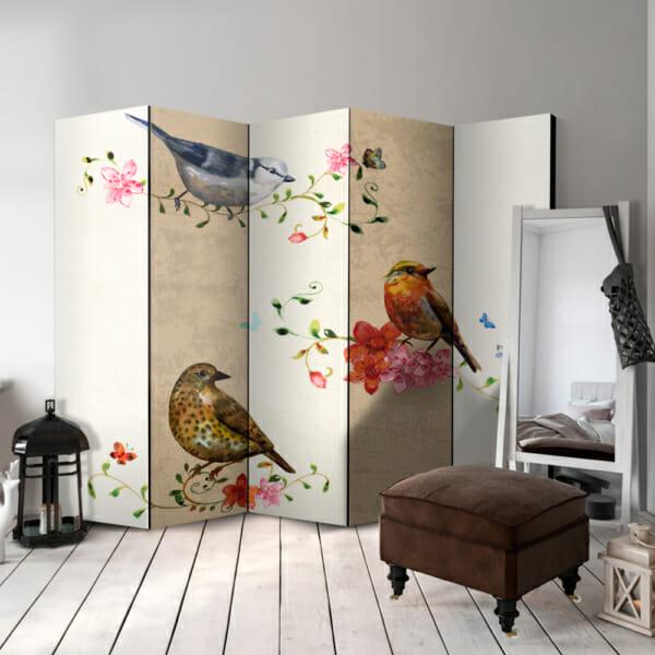 сгъваем декоративен параван с рисувани птички - 5-крилен