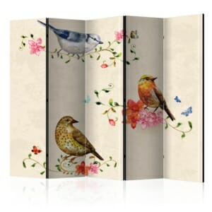 сгъваем декоративен параван с рисувани птички - 5 крила