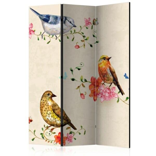 сгъваем декоративен параван с рисувани птички - 3 крила
