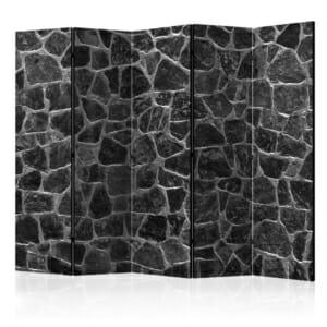 Двустранен интериорен параван имитиращ стена от черни камъни - 5 крила
