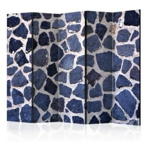 Интериорен параван имитиращ стена от тъмносини камъни - 5 крила