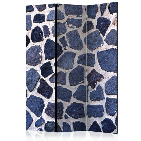 Интериорен параван имитиращ стена от тъмносини камъни - 3 крила