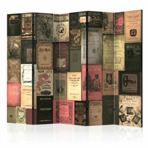 Сгъваем разделител за стая като стена от стари книги - 5 крила