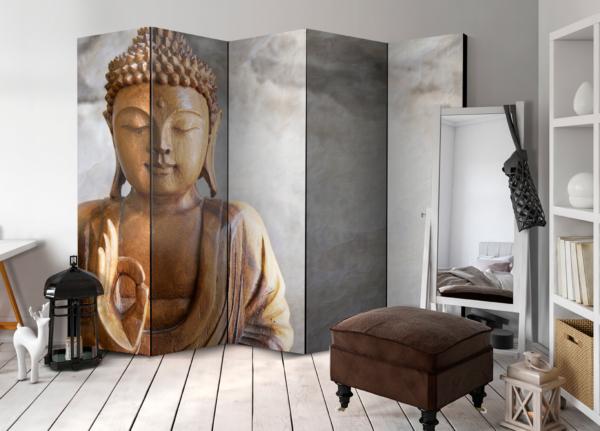 Двулицев декоративен параван с дървена статуя на Буда - 5-крилен