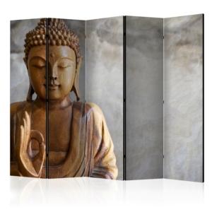Двулицев декоративен параван с дървена статуя на Буда - 5 крила