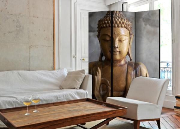 Двулицев декоративен параван с дървена статуя на Буда - 3-крилен