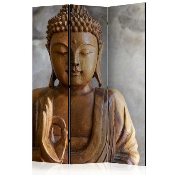 Двулицев декоративен параван с дървена статуя на Буда - 3 крила