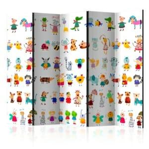 Двустранен параван за детска стая с картинки на животни - 5 крила