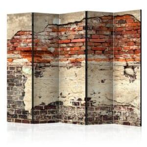 Декоративен параван имитиращ стара тухлена стена - 5 крила