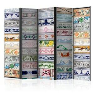 Сгъваем декоративен параван като стена от шарени фризови плочки - 5 крила