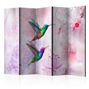 Двулицев параван с колибри като цветна графика - 5 крила