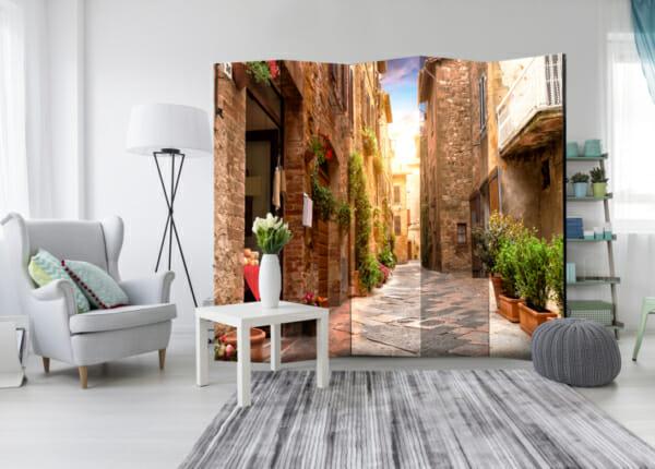 Двустранен интериорен параван Street in Tuscany