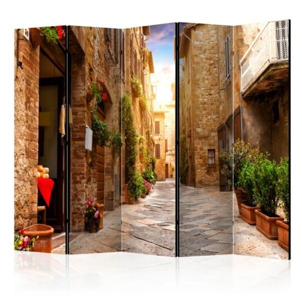 Двустранен интериорен параван Street in Tuscany - 5 крила