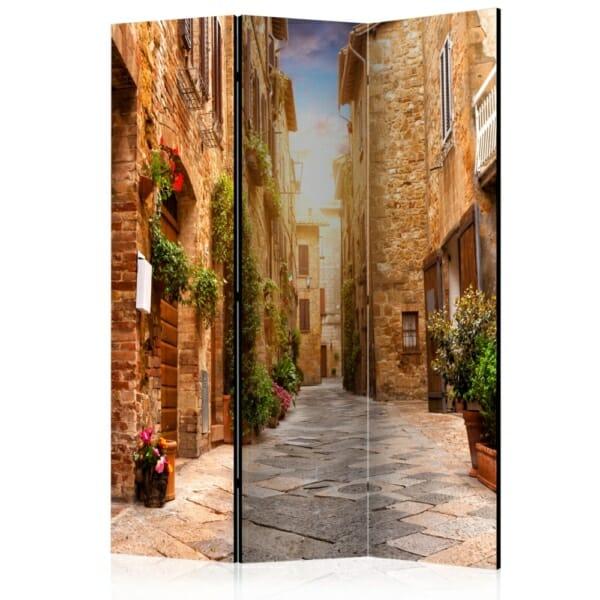 Двустранен интериорен параван Street in Tuscany - 3 крила
