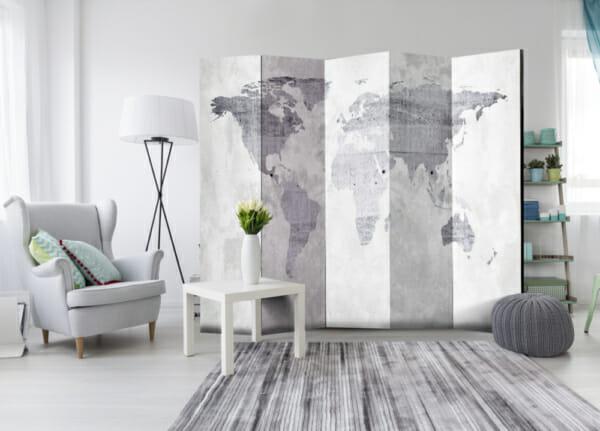 Декоративен параван имитиращ бетон с карта на света в сиво - 5-крилен