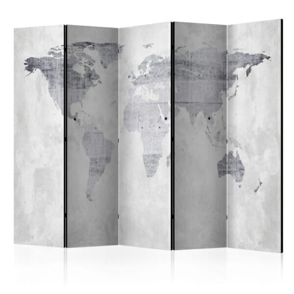 Декоративен параван имитиращ бетон с карта на света в сиво - 5 крила