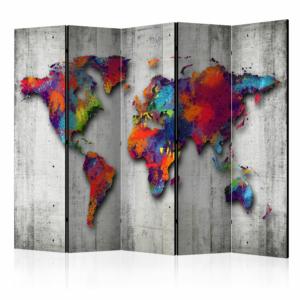 Интериорен параван имитиращ бетон с карта на света