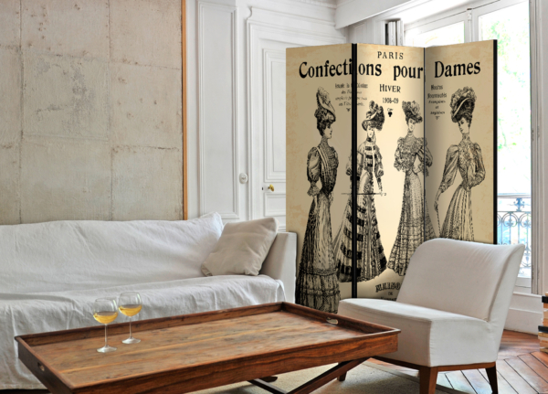"Трикрилен параван за стая ""Confections pour Dames"" - двустранен"