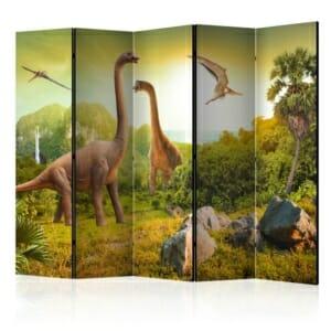 Декоративен параван с динозаври - 5-крилен