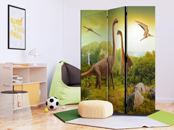Трикрилен декоративен параван с динозаври