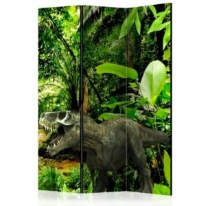 Двустранен декоративен параван с динозаври в джунгла