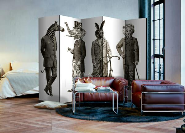 Декоративен параван с животни в мъжки дрехи - двустранен