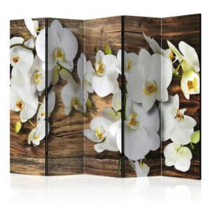 Двустранен параван с бели орхидеи върху фон дърво - 5 крила