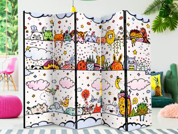 """Петкрилен декоративен параван за детска стая """"Funny animals"""""""