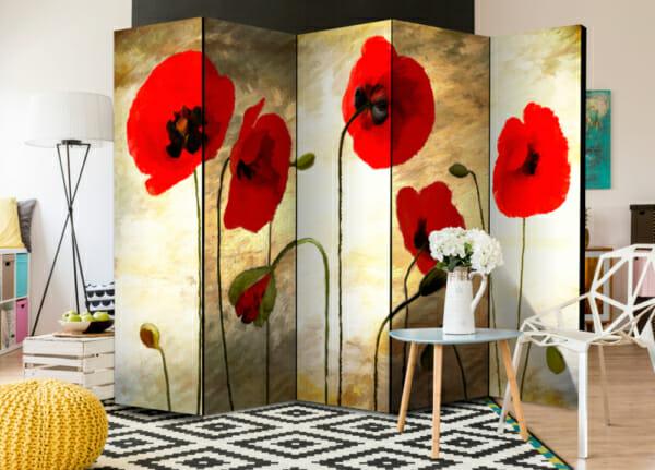 Сгъваем разделител за стая като картина с макове - 5-крилен