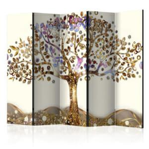 Сгъваем параван с дърво и орнаменти в златно - 5 крила