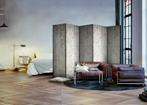 Голям декоративен параван имитиращ бетонна стена - 5-крилен