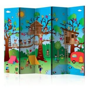 Декоративен параван за детска стая с деца на къмпинг - 5 крила