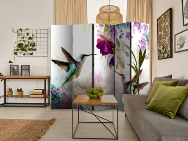 Двустранен разделител за стая с колибри и цветя - 5-крилен