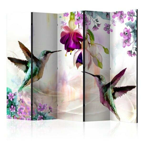 Двустранен разделител за стая с колибри и цветя - 5 крила