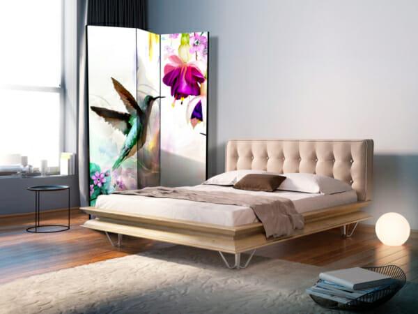 Двустранен разделител за стая с колибри и цветя - 3-крилен