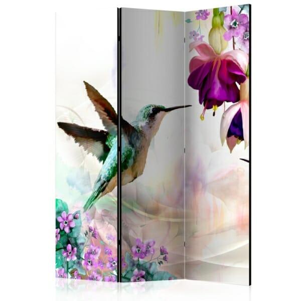 Двустранен разделител за стая с колибри и цветя - 3 крила