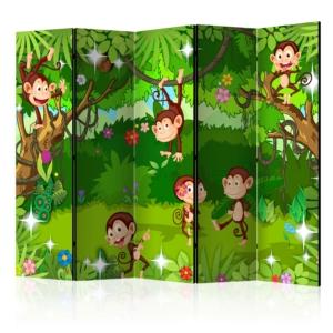 Сгъваем параван за детска стая със забавни маймунки - 5 крила