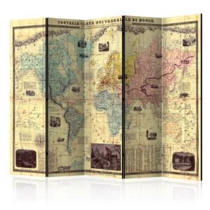 Декоративен параван с винтидж карта на света Nouvelle Carte Du Monde