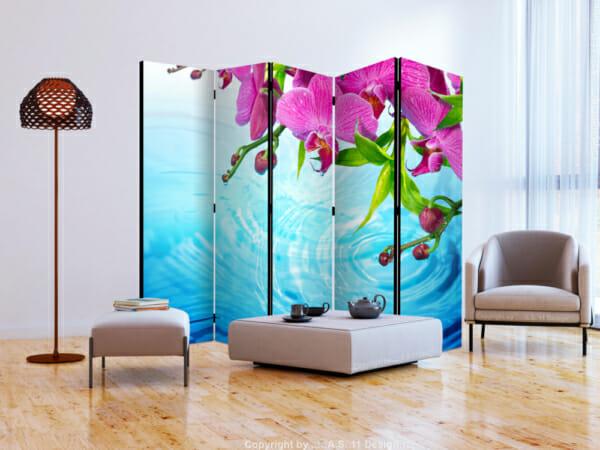 Сгъваем декоративен параван с розови орхидеи над вода - 5-крилен