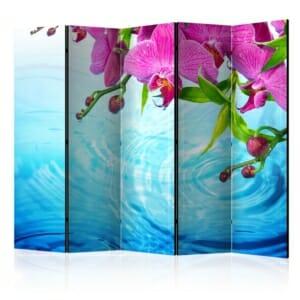 Сгъваем декоративен параван с розови орхидеи над вода - 5 крила
